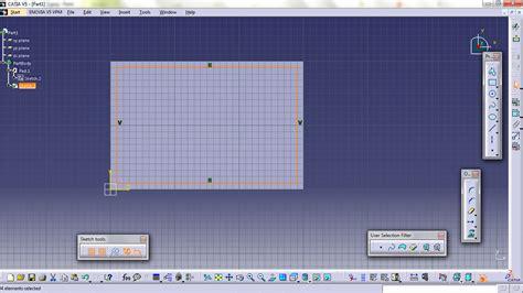 catia v5 video tutorial 2 sketch pad pocket pattern catia v5 tutorial for beginners getting familiar with
