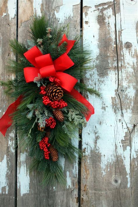 christmas swag red bow mixed pine christmastime