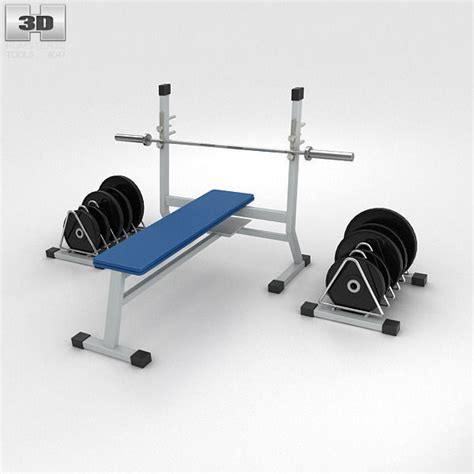 image 3 4 weight bench weight bench with weights 3d model max obj 3ds fbx c4d lwo