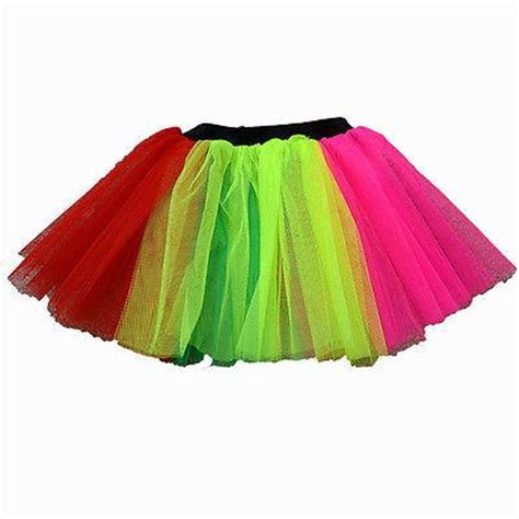 1980s colors neon tutu skirts 3 layers uv 10 colours 1980s fancy dress