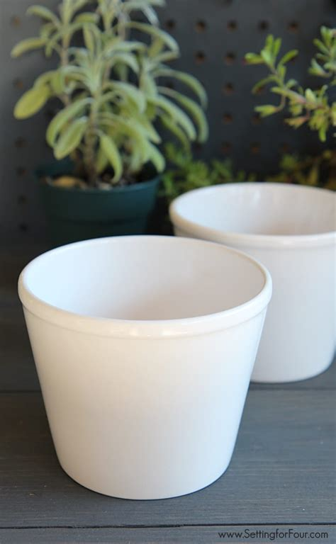 Kitchen Windowsill Herb Pots Easy Diy Herb Pots With Numbers Setting For Four