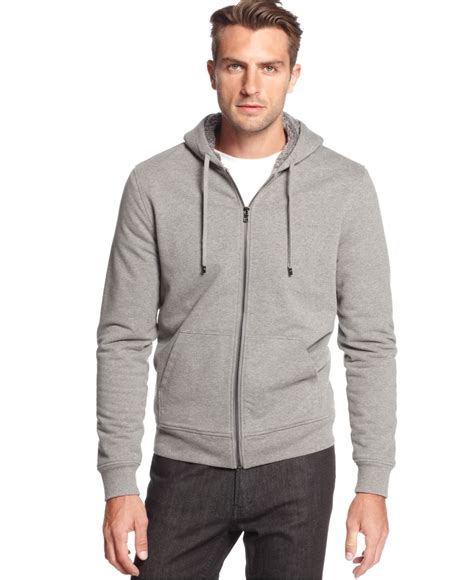 Rompi Vest Jipper Polos Exlusive michael kors sherpa zip hoodie a macy s exclusive in gray for lyst