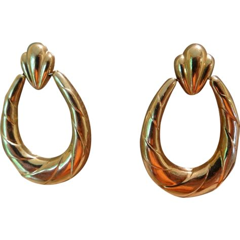 Gold Door Knocker Earrings lovely vintage 14k gold door knocker pierced earrings from rubylane sold on ruby