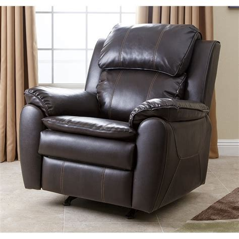 Brown Leather Rocker Recliner Chair Abbyson Living Harbor Leather Rocker Recliner Chair In