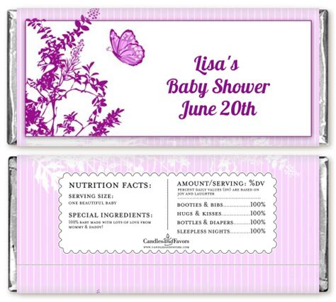 Personalized Bars For Baby Shower by Butterfly Baby Shower Bar Wrappers Candles Favors
