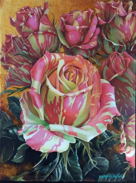 Pink and yellow zebra striped roses robert c murray ii paintings amp prints flowers plants