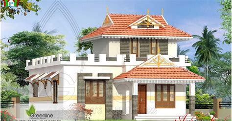 Home Design For 1100 Sq Ft by 1000 Square Feet Traditional Style Kerala House Elevation