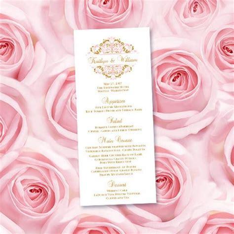menu card template doc wedding menu card quot grace quot blush pink gold editable word