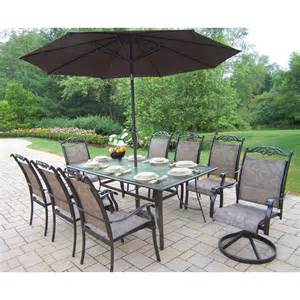 Patio Dining Sets With Umbrella Oakland Living 10605 Cascade 9 Outdoor Dining Set With Umbrella Atg Stores