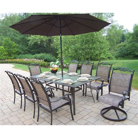Patio Dining Set With Umbrella Oakland Living 10605 Cascade 9 Outdoor Dining Set With Umbrella Atg Stores