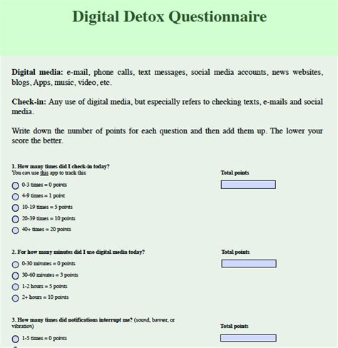 Detox Your From Screen Addiction by Digital Detox Questionnaire Headhearthand