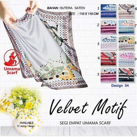 Kerudung Jilbab Motif 4 segiempat umama velvet motif 4 sentral grosir jilbab