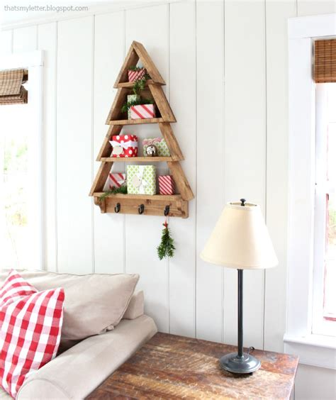 diy wood tree shelf with free plans tinsel wheat