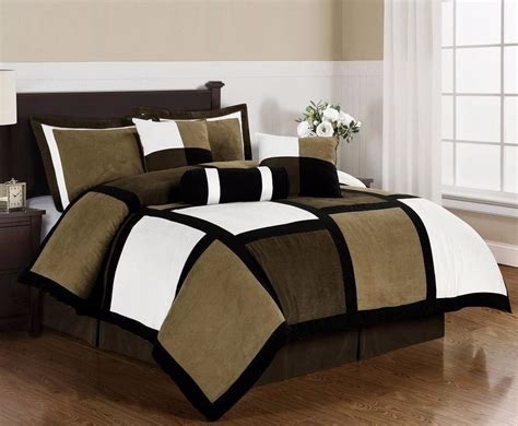 tan and white comforter set black brown white microsuede patchwork 7 piece duvet cover