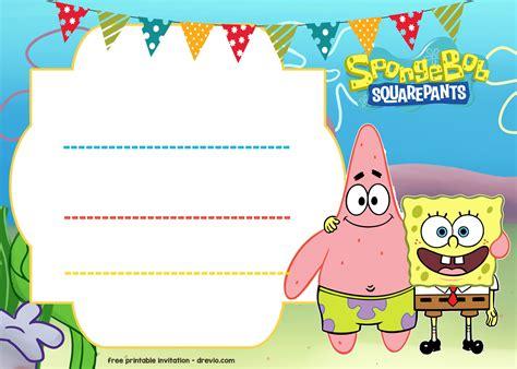 Spongebob Birthday Card Template by Free Spongebob Birthday Invitation Template Free
