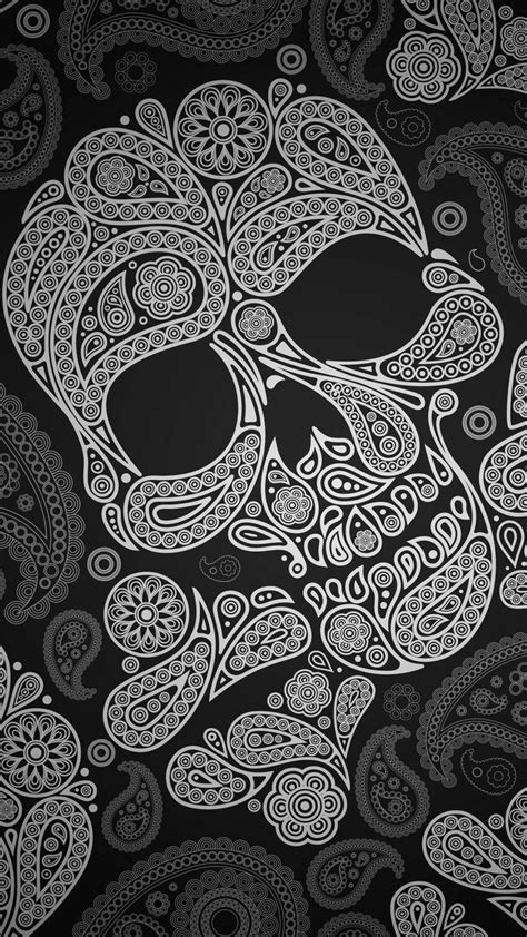 wallpaper iphone skull tap and get the free app hard skull black paisley