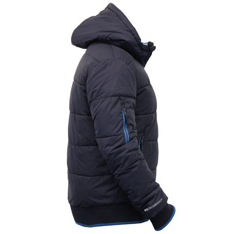 mens padded crosshatch jacket quilted fleece lined hooded