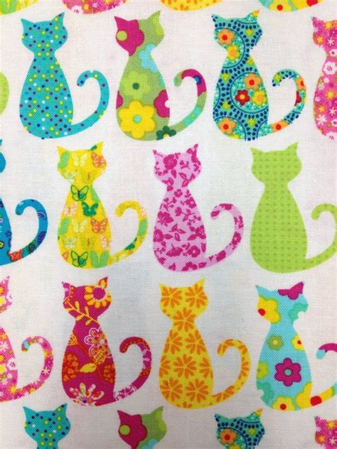 printable cotton fabric silhouette cat kitten groovy kitty cat silhouette print cotton fabric