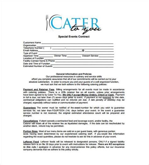 banquet contract template catering contract templates find word templates