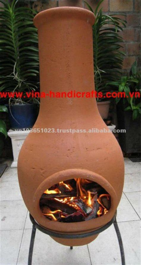 Clay Chiminea With Iron Stand Chi 6868l Color Iron Stand Clay Chiminea Stove