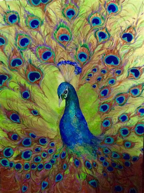 original watercolor painting peacock painting peacock peacock metallic iridescent original acrylic painting 36