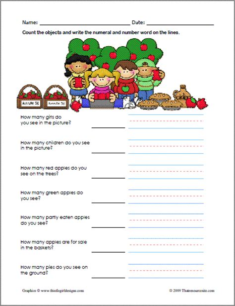 Apple Counting Worksheet by That Resource Site Welcome Fall With Seasonal Themed