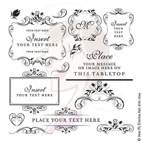Wedding Monogram Border by Black And White Bridal Shower Clipart 62