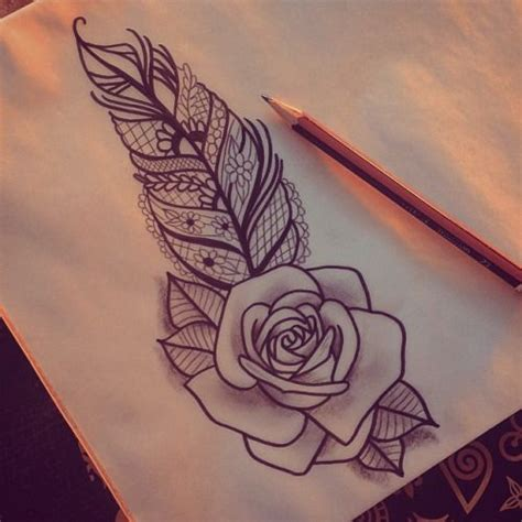 feather rose tattoo 1000 ideas about designs on pretty