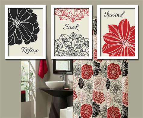 black red bathroom wall art canvas or prints bathroom pictures custom colors dahlia flowers