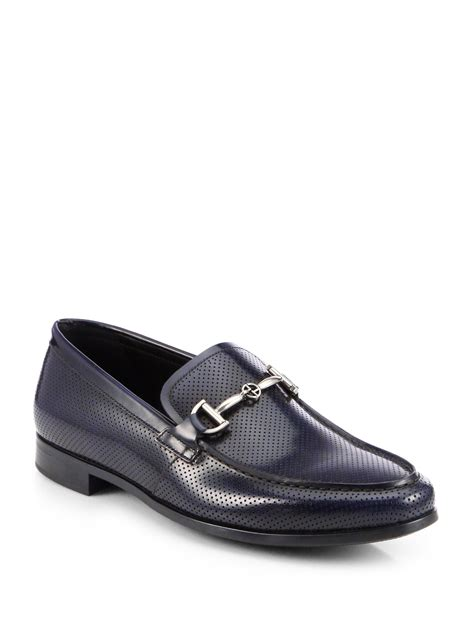 Shoe Loafer Fashion Armani B15 giorgio armani perforated loafers in blue for lyst