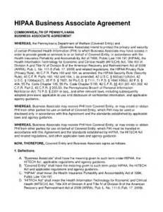 Business Associate Agreement Template 2013 hipaa business associate agreement fill online