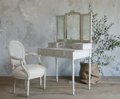 Home Decor Plus Furniture And Vintage Style Small Vanity Table Painted With White Color Built In