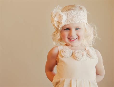 adorable girls headband of ivory silk flowers great for toddler and girls flower girl dress ivory in cotton