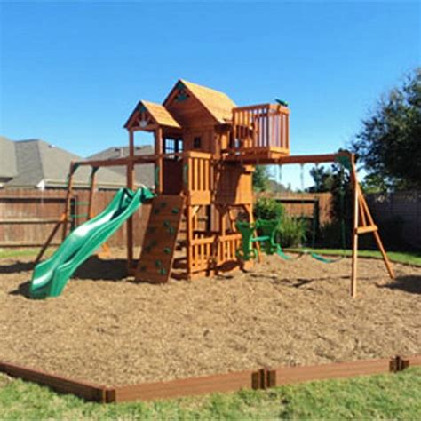 composite swing set frame it all two inch series composite playground border