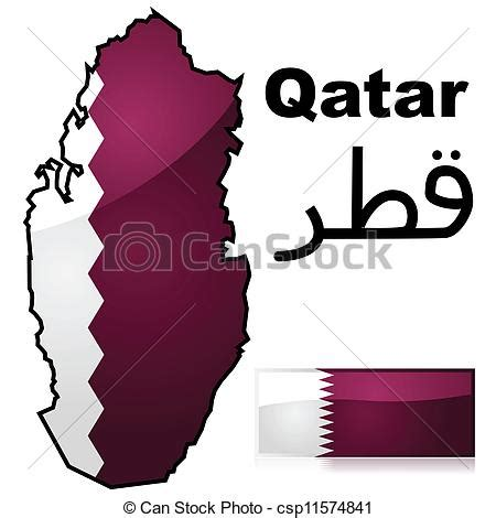 qatar map vector qatar map and flag glossy illustration showing a map of