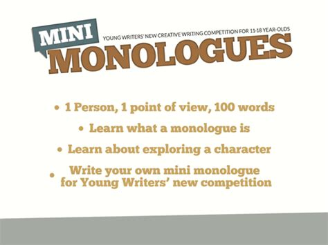 Writing a Monologue by YoungWriters   Teaching Resources   Tes