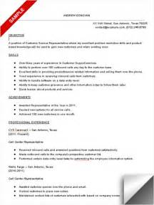 Resume Call Center Objective Call Center Resume Sample