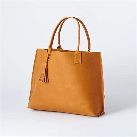 Leather Handmade Bag - bubo handmade everyday leather tote bag west elm