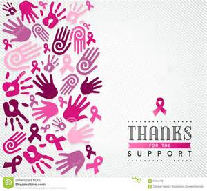 breast cancer campaign poster pink hand ribbon stock