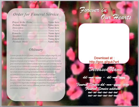 funeral bulletin template for obituary program by
