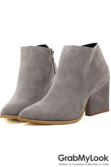 grey womens boots grey suede point ankle boots shoes heels
