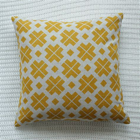 yellow patterned cushions saffron yellow patterned linen cushion cover by silk