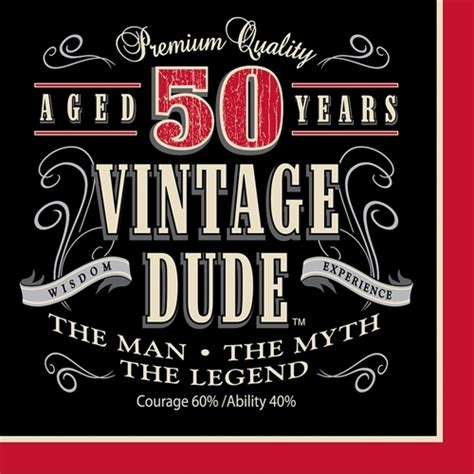 Vintage Dude 50th Birthday Party Lunch Napkins