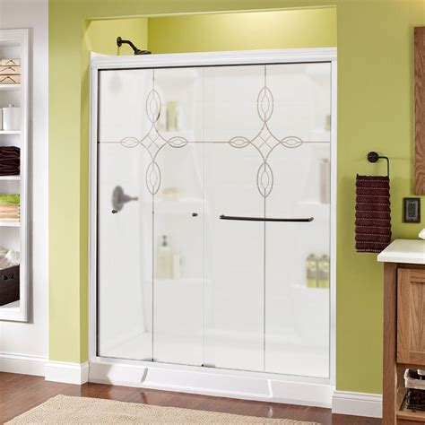 Sliding Shower Doors Home Depot Delta Crestfield 60 In X 70 In Semi Frameless Sliding Shower Door In Bronze With Clear Glass