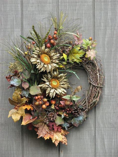 Outdoor Wreaths For Front Door by Fall Wreath Sunflower Wreath Front Door Wreath Outdoor Door Wre