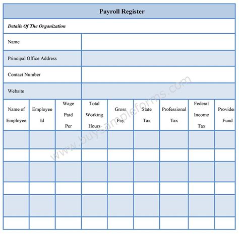 payroll register forms payroll register template