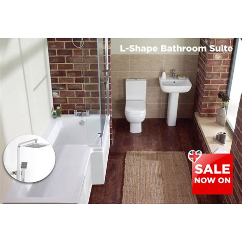 L Shape Bath Suite Inc S600 4 Piece Toilet Set And Bc Cube Bathroom Shower Suites Sale