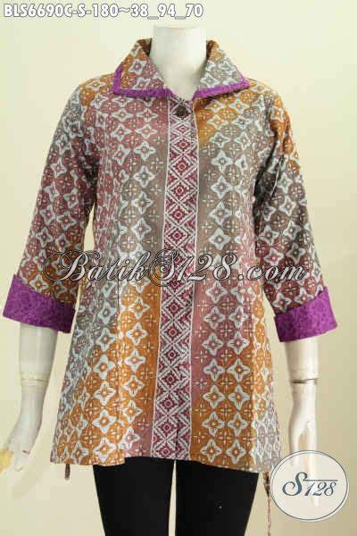 Blus Batik Embos Cap Ba6776 blus batik modern klasik bahan emboss busana batik halus