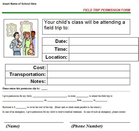 field trip template 35 permission slip templates field trip forms