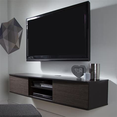 modern tv furniture floating wall media cabinet and tv hanging on